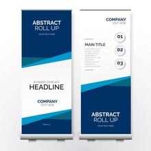 Modern Business Roll Up Banner With Paper Shapes Design Vector Illustration