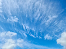 Stunning Cirrus Cloud Formation Panorama In A Deep Blue Sky