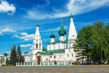 Orthodox Church Of Elijah The Prophet In The Old City Center In Summer Of Yaroslavl, Russia. Ancient Russian City