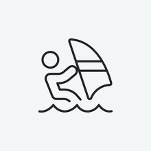 Windsurfer Vector Icon Illustration Sign