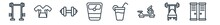 Linear Set Of Gym And Fitness Outline Icons. Line Vector Icons Such As Lifting Dumbbells, Sport Wear, Little Dumbbell, Weighing Scale, Vegetables Juice, Locker Vector Illustration.