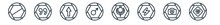Linear Set Of Signs Outline Icons. Line Vector Icons Such As Prohibition Circle, Quotes, Up, Male, Khanda, Toxic Vector Illustration.