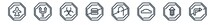Linear Set Of Traffic Signs Outline Icons. Line Vector Icons Such As Airport, Two Ways, Biological Hazard, No Fast Food, No Turn, No Turn Right Vector Illustration.
