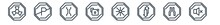 Linear Set Of Traffic Signs Outline Icons. Line Vector Icons Such As Nuclear, No Parking, Narrow Bridge, Gasoline, Laser, No Sound Vector Illustration.