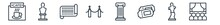 Linear Set Of Museum Outline Icons. Line Vector Icons Such As Cafe, Bust, Paper Scroll, Museum Fencing, Antique Column, Cinema Vector Illustration.