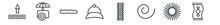 Linear Set Of Season Outline Icons. Line Vector Icons Such As Tide, Ice Cream Cart, Bush, Baseball Cap, Crops, Beach Towel Vector Illustration.