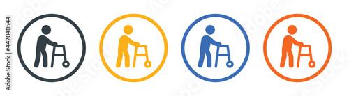Fotografie, Tablou Walker for disabled person icon vector illustration.