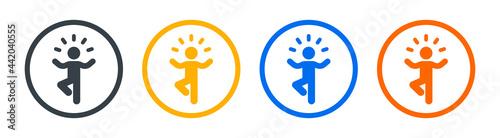 Canvastavla Yoga pose icon vector illustration. Meditation concept.