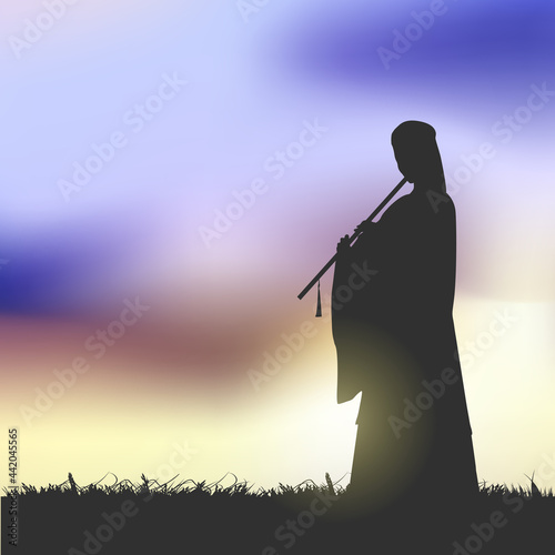 An Ancient Chinese Beauty Playing A Chinese Flute Under The Sunset Fototapet