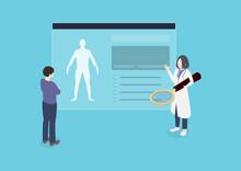 患者に説明する医師のイラスト素材