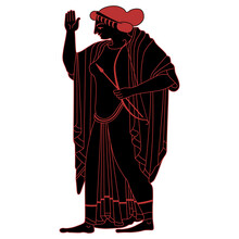 Standing Ancient Greek Goddess Artemis Holding Bow And Arrows. Black And Red Silhouette. Vase Painting Style. Antique Woman In Long Dress With Raised Hand.