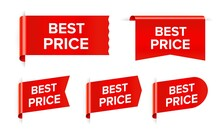 Best Price Red Sticker Sale Tag Isolated On White Background