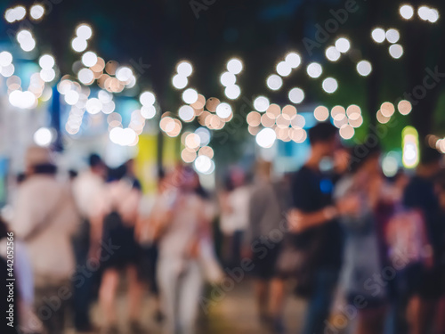 Canvas Festival Event Outdoor Party with lighting Crowd People Blur Background