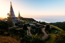 Landscape Of Two Pagoda On The Top Of Inthanon Mountain At Morning Sunrise, View Point From Kew Mae Pan Nature Trail On Doi Inthanon National Park, Chiang Mai, Thailand.