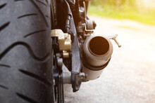 Close-up Shot Of Motorcycle Exhaust Pipes.