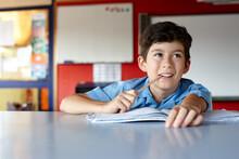 Primary School Student In Classroom Doing Homework