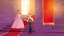 Prince Invite Princess For Dance In Castle Hall. Royal Couple In Palace Hallway With Stone Walls, Ladder And Wide Window, Room Decorated With Red Banners And Stairs Carpet, Cartoon Vector Illustration
