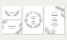 手描きのオリーブのデザインカードテンプレート、結婚式の招待状、手紙、グリーティングカードセット