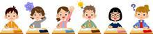 授業を受ける小学生男女の様々な表情と仕草