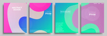 Modern Abstract Covers Set, Modern Colorful Wave Liquid Flow Poster. Cool Gradient Shapes Composition, Vector Covers Design