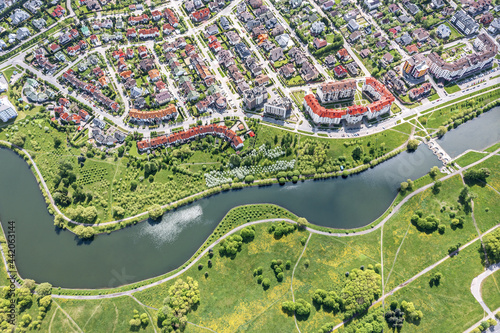 Fotografiet birds eye view of private houses in the Eastern residential district of Minsk, Belarus