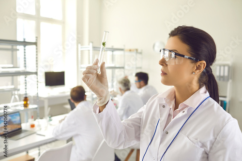 Photographie Side view young female scientist in coat, gloves and goggles looking at small green leaf inside test glass tube in her hand