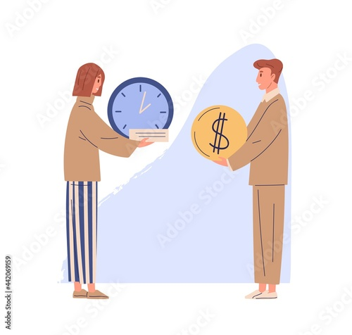 Canvastavla Concept of exchanging time for money and getting salary for work