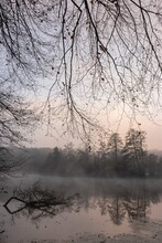 River Scenery With Fog In Black And White Colors As Mourning Mood Concept