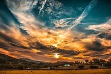 Orange And Blue Skies During Sunset