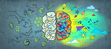 Creative Colorful Business Sketch On Wall Backdrop. Left And Right Human Brain Concept.
