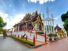 Samutsakorn Thailand - 19 June 2021;  Wat Tha Mai Temple And Tourist Attraction In Samutsakorn Province, Thailand