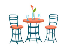 Fashionable Twisted Chairs And Dining Table. Modern Entourage In Scandinavian Style. Winding Furniture Made Of Curved Metal Tubes. Glasses And Vase With Flower On Table Top. Vector Illustration
