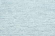 Linen Fabric Texture Background. Simple And Basic Pattern Textile. Natural Sky Blue Cloth Surface Closeup