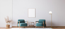 Scandinavian Bright Living Room Design, Blue Armchairs With Natural Wooden Furniture, 3d Render