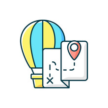 Hot Air Balloon Tourism RGB Color Icon. Flight Journey. Fly High In Basket. Tour Plan For Entertainment. Isolated Vector Illustration. Travel Industry Category Simple Filled Line Drawing