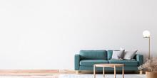 Scandinavian Bright Living Room Design, Blue Sofa With Natural Wooden Furniture, 3d Render