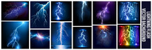 Vector Realistic Lightning And Glowing Thunder Bolt, Vector Realistic Set Of Lightning Effects , Abstract Background Vector Electric Light. Spark Flash Effect. Realistic Ball Lightning, Plasma Sphere