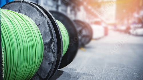 Fotografie, Obraz Production of copper wire, bronze cable in reels at factory