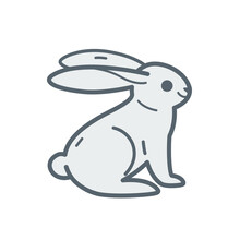Cartoon Hare, Cute Character For Children. Vector Illustration In Cartoon Style For Abc Book, Poster, Postcard. Animal Alphabet - Letter H.