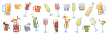 Glasses And Cups With Drinks And Beverages, Isolated Coffee And Tea. Champagne And Sparkling Wine, Beer And Pale Ale, Cocktail And Cognac, Brandy And Whiskey Rum With Lime. Flat Cartoon Vector