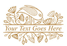 Bird On A Branch Floral Vector Design With Leaves Isolated Over White, Classical Elegant Fashion Style Banner Or Text Divider For Design, Luxury Vintage Linear Emblem Or Frame Element.