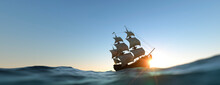 Large Pirate Ship Panoramic At Sunset On A Clear Day 3d Render