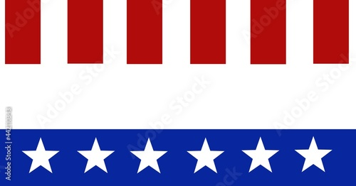 Composition of blue band with white stars below red stripes of american flag with copy space between