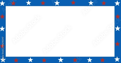 Composition of blue border with red and white stars of american flag, with white copy space