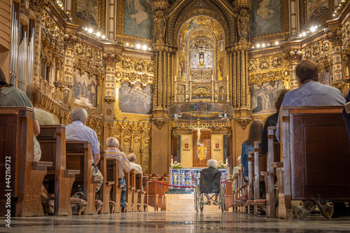 Canvas MONISTROL DE MONTSERRAT, SPAIN-JUNE 27, 2021: Interior of the dome of Basilica o