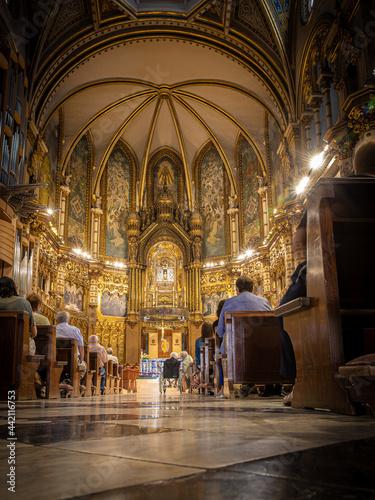 Billede på lærred MONISTROL DE MONTSERRAT, SPAIN-JUNE 27, 2021: Interior of the dome of Basilica o