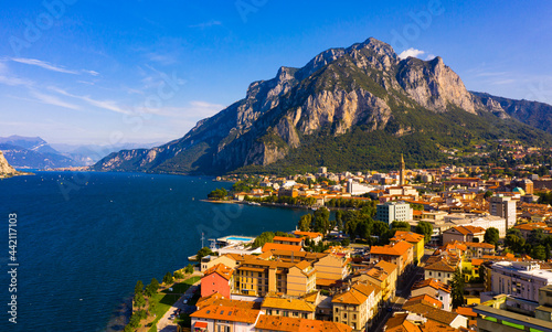 Fotografiet Aerial cityscape of Lecco and picturesque Como lake in Italy