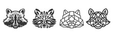 Collection Silhouettes Of Raccoon Head In Monochrome Different Styles Isolated On White Background. Modern Graphic Design Element For Label, Print Or Poster. Vector Art Illustration.