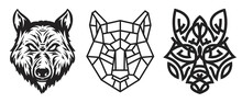 Collection Silhouettes Of Wolf Head In Monochrome Different Styles Isolated On White Background. Modern Graphic Design Element For Label, Print Or Poster. Vector Art Illustration.