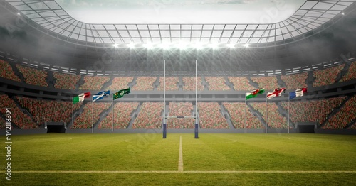 Composition of empty rugby stadium with national flags and clouds